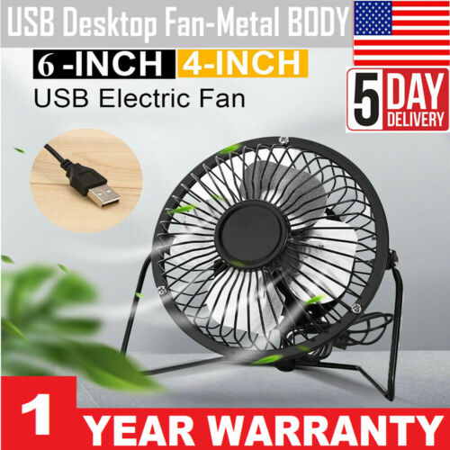 Quiet USB Fan Smooth Blades Metal Body For Home,Office Travel,Camping,Outdoor US