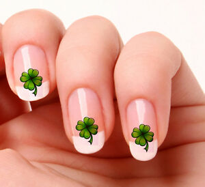 20 Nail Art Decals Transfers Stickers #176 - Irish Lucky four leaf ...