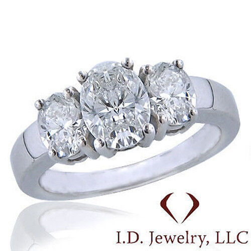 0.50CT Oval 3 Stone Diamond Engagement Ring F SI1