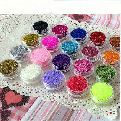 12 Color Shinny/Shimmer Acrylic Glitter Powder Dust For Nail Art Tips Decoration