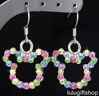 WHITE GOLD PLATED DISNEY MICKEY MOUSE COLOR DANGLE EARRINGS w SWAROVSKI CRYSTAL