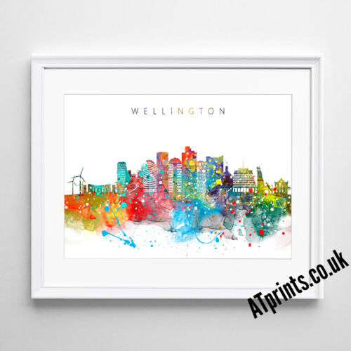 WELLINGTON SKYLINE MAP Print Poster Watercolour Framed Canvas Wall Art Gift CITY