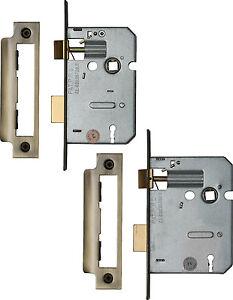 """2.5/"""" Mortice Door Lock Chrome York 3 Lever Mortice Sashlock 64mm"""