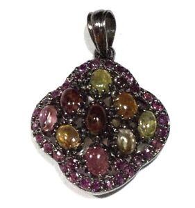 Sterling-Silver-Gem-Tourmaline-amp-Genuine-Ruby-Pendant-With-Black-Rhodium-Finish