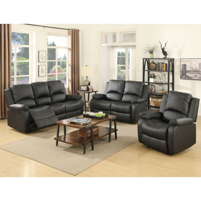 Gold Thread 3 2 1 Sofa Set Loveseat Couch Recliner Leather Living Room Brown