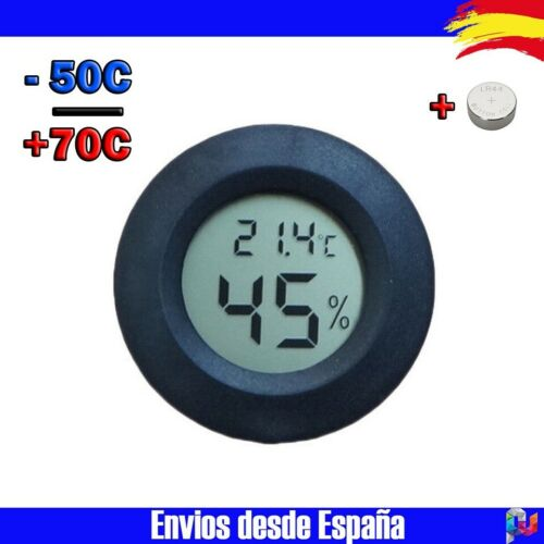 Termometro Higrometro digital temperatura y Humedad lcd Sonda Interna Negro R