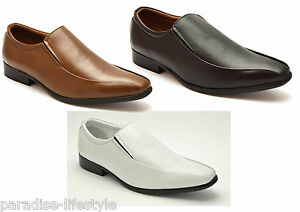 2323764db36 Image is loading Mens-Slip-on-Shoes-Leather-Formal-Evening-White-