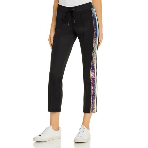Pam /& Gela Womens Black Sequin Stripe Running Jogger Pants L BHFO 0537