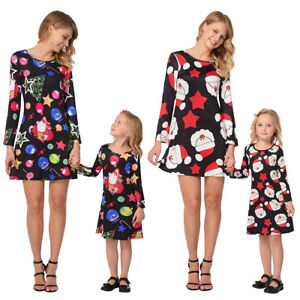 Matching Family Christmas Outfits.Details About Christmas Family Outfits Mommy And Me Matching Girl Women A Line Dress Clothes