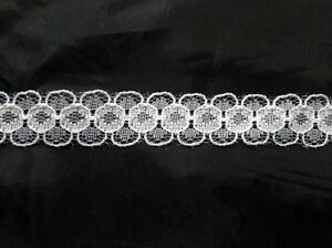 """Wholesale Roll 100 Yards OFF White Floral Narrow Scalloped Lace Trim 1//2/"""""""