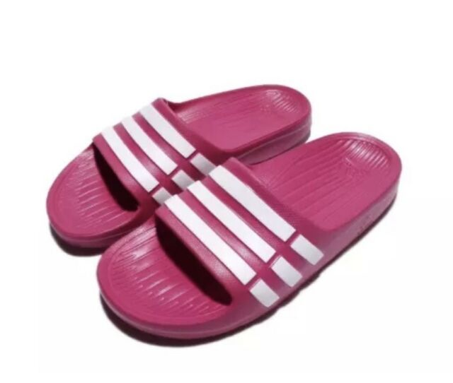 8d7aa057d2b34e Adidas Kids Duramo Slides Sandals Pink White Girls Boys 11K 12K 13K 1 2 3 4