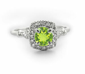 925-Sterling-Silver-Ring-Natural-Green-Peridot-Halo-Gemstone-Size-4-11