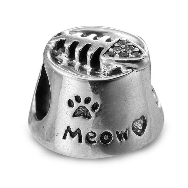 1e274a76f Authentic PANDORA 925 Sterling Silver Charm Meow Cat Bowl 791716CZ ...