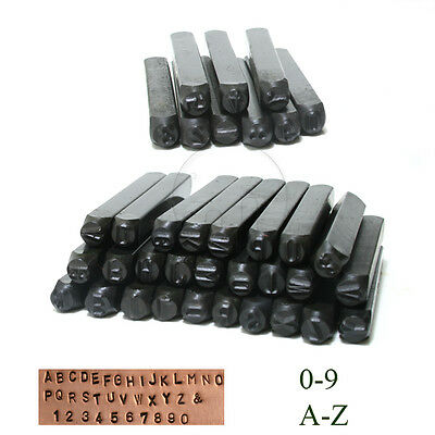 4 mm Stamps Punch Set Case Steel Metal Die Tool Craft Letters Alphabet Numbers