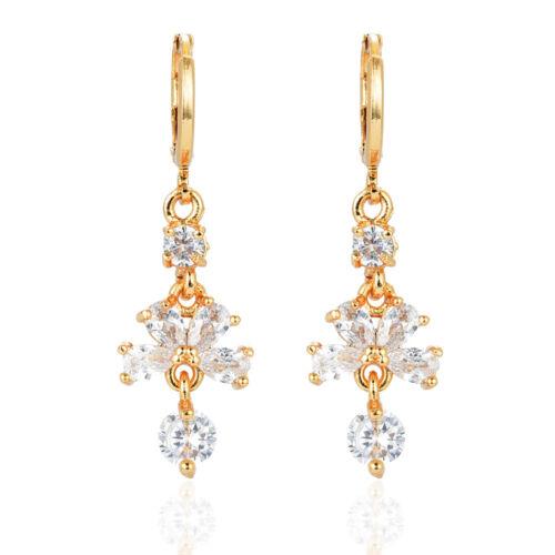 Fashion Femmes plaqué or Clear AAA Zircone Cubique Zircone Cubique Boucles d/'oreilles pendantes bijoux