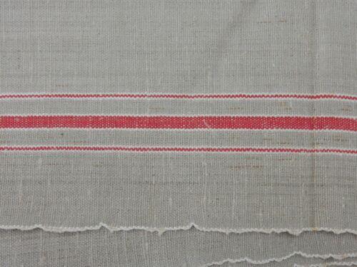 90 x 300 cm Mangeltuch Rolltuch Leinen rote Kante Bordüre 3 Streifen ca