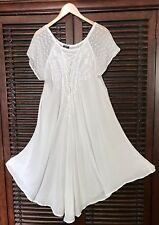 WHITE Beach Lace up Embroidered Dress Lounge Cover-up Boho Peasant Plus Size