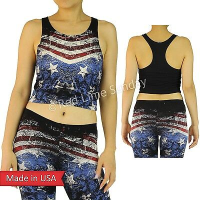 New Women American Flag Weathered Print Cropped Mini Racerback Tanktop Shirt US