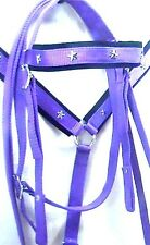 D.A. Brand Purple complete horse size nylon bridle set w/breast collar equine