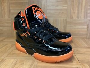 RARE-Patrick-Ewing-33-Basketball-Shoes-Black-Patent-Leather-Total-Orange-Sz-10