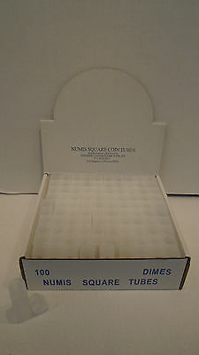 Box of 100 Meghrig Numis Square Coin Tubes Holder Dime 10c 18mm Ten Cent