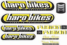 BMX BIKE BICYCLE STICKERS DECALS TRANSFERS - SET OF 9 - HARO FUSION - YELLOW