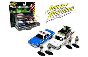 JOHNNY-LIGHTNING-1-64-DIORAMA-GHOSTBUSTERS-ECTO-1A-DODGE-MONACO-FIGURES-JLCP7041