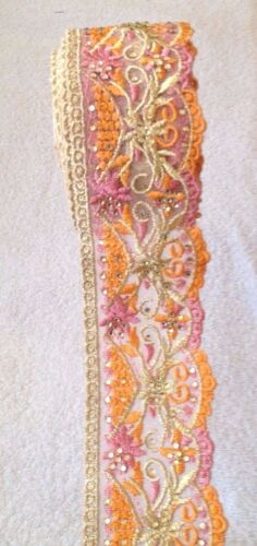 Rhinestone Embroided Fancy Lace Trim Bridal Sewing Craft Indian Beaded Free P/&P
