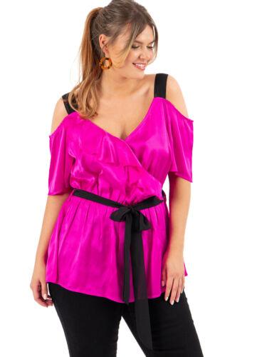 Koko Womens Plus Size Pink Satin Cold Shoulder Top