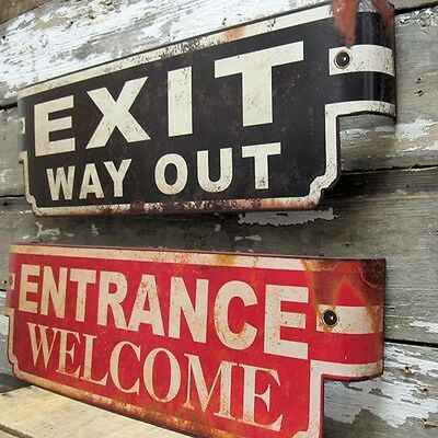 Vintage style Exit and Entrance metal Marquee signs!~Golden Age of movies!