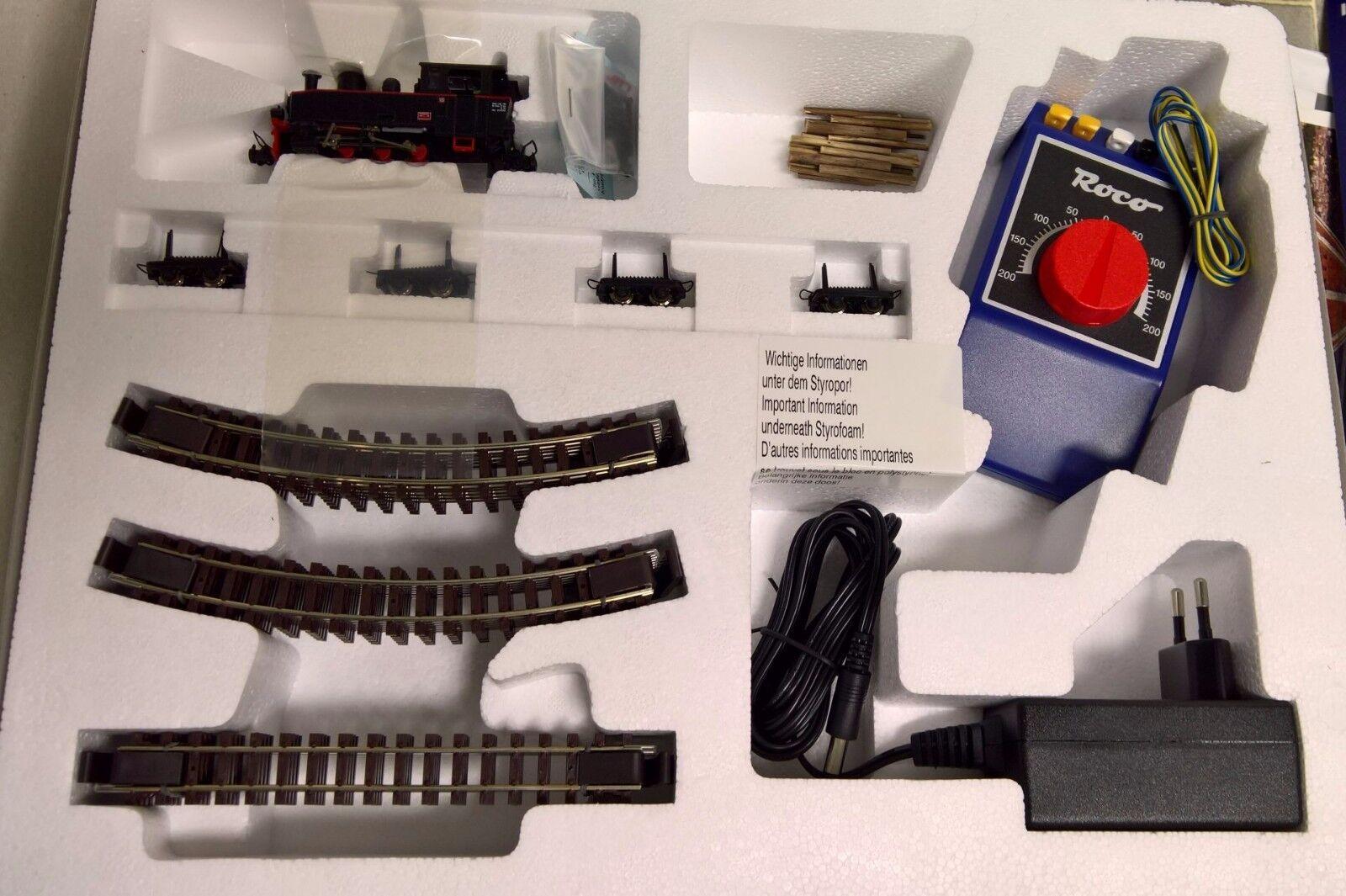 ROCO 31030 analogico Starter Set: locomotiva a vapore con holzzug traccia h0e NUOVO