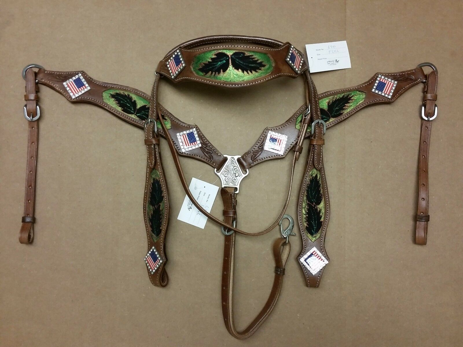 AMERICAN FLAG BLING CONCHO COWBOY HEADSTALL CLASSIC BREAST COLLAR  RODEO EVENT  fishional store for sale