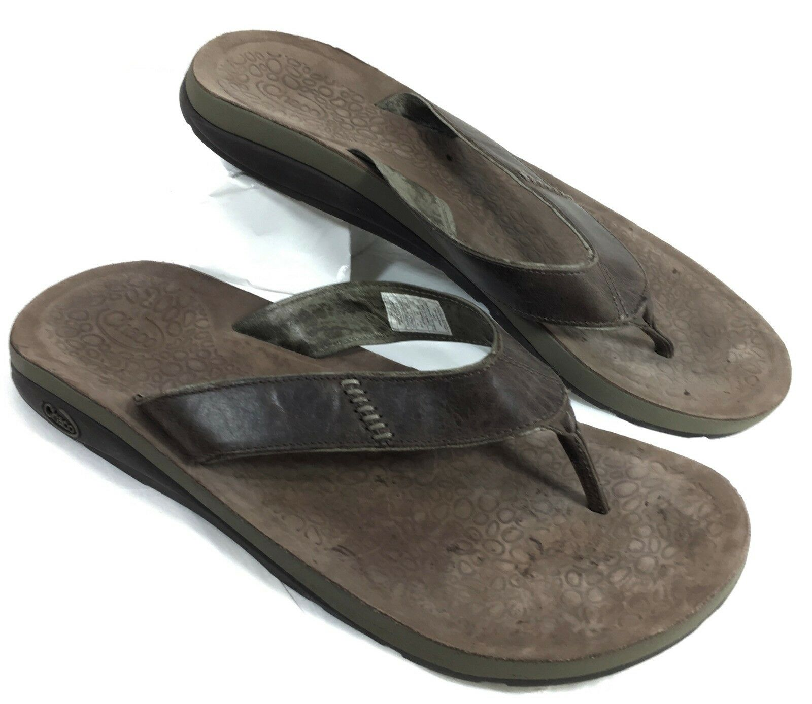 Men's Chaco Cordonazo EcoTread Flip Flops Sandals Brown leather Sz 15