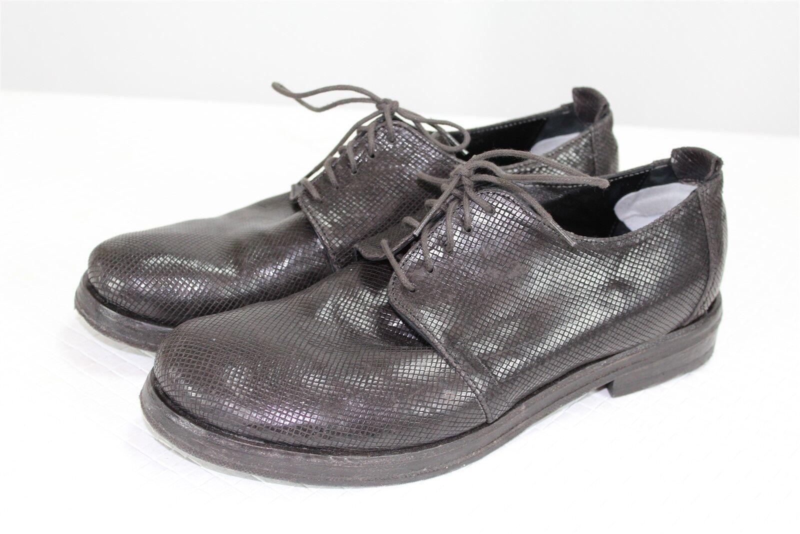 Saviobarbato Men's shoes 44 11-US Brown Square Grid Textured Leather