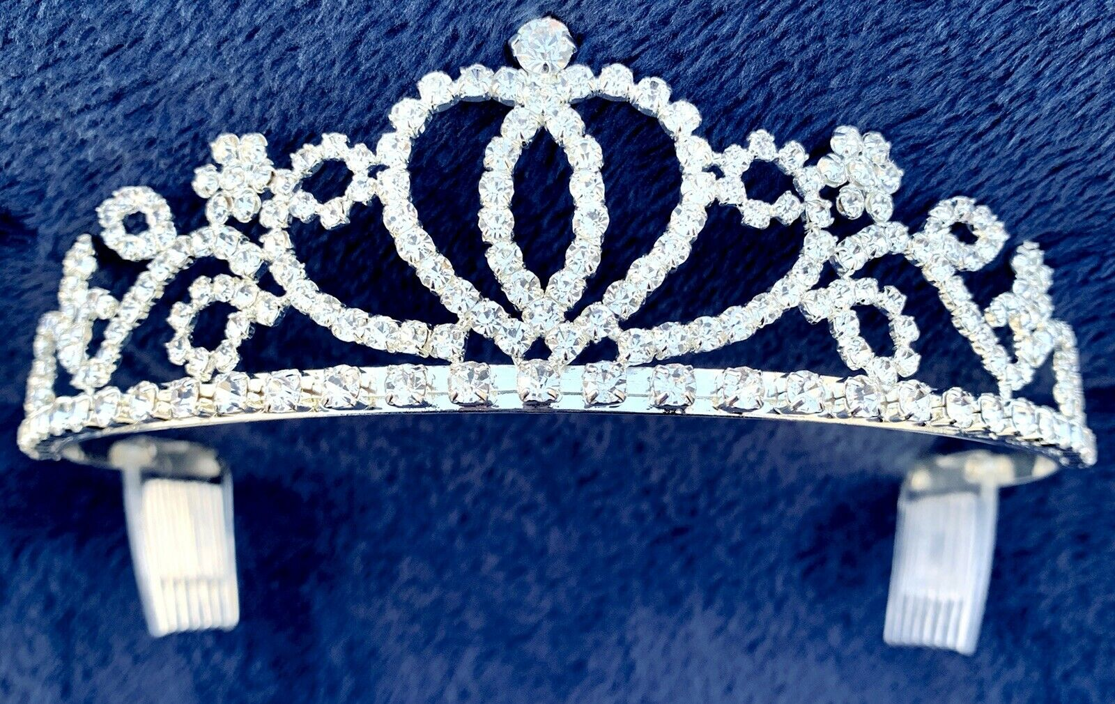 Bridal Princess Crystal Tiara Wedding Crown Hair Accessory Headband Prom Silver