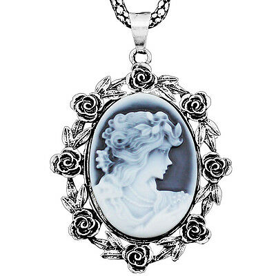 Retro Look Antique Bronze Plated Lady Queen Cameo Rose Flower Pendant Necklace