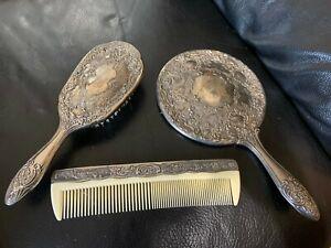 Elegant Vintage Silver Plated Vanity Dresser Set Brush Mirror Comb Ebay