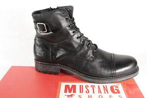 fee60a69ec9af0 Das Bild wird geladen Mustang-Herren-Stiefel-Stiefeletten-Boots- Winterstiefel-Echtleder-schwarz-
