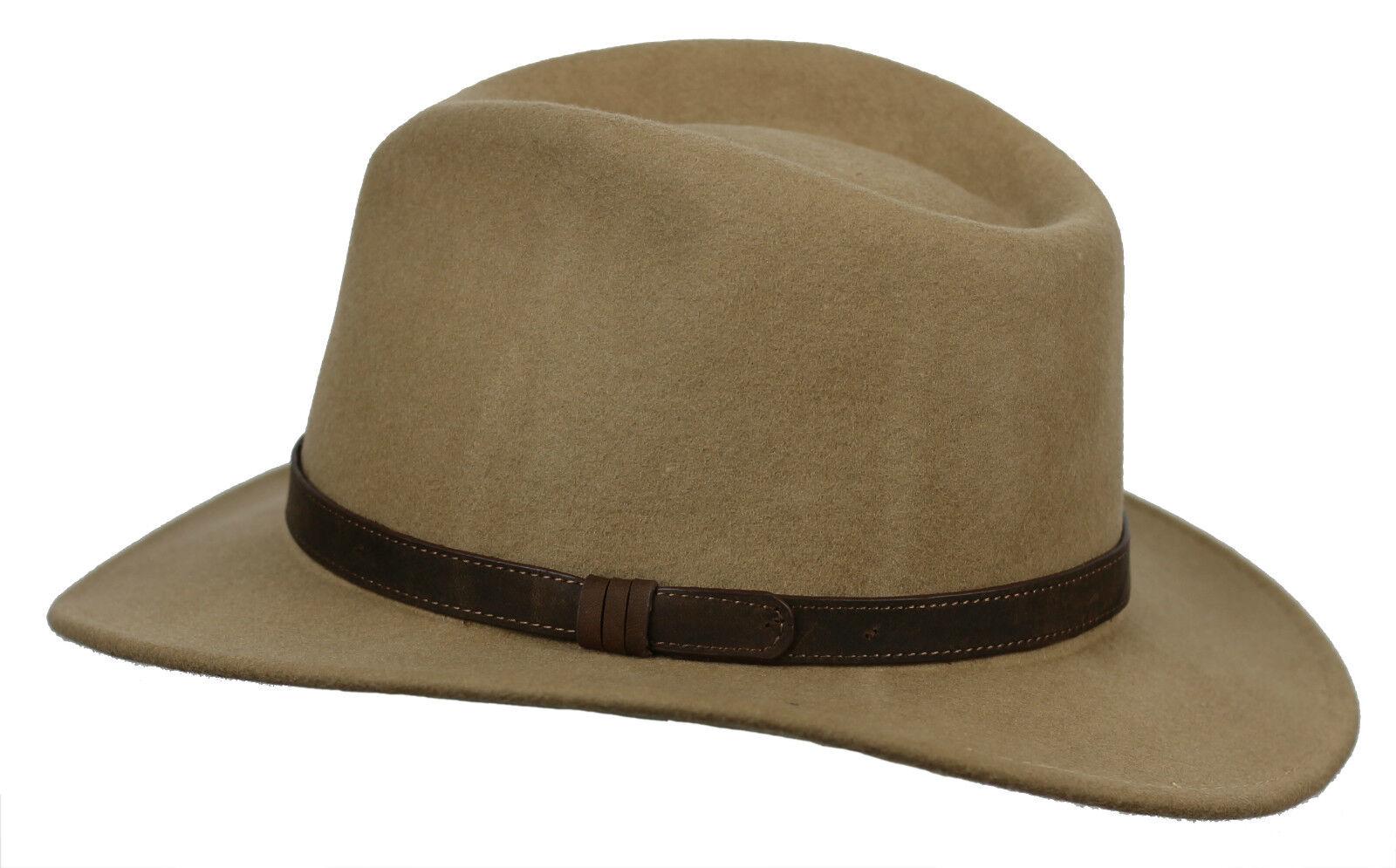 Unisex Mens damen Vintage 100% Felt Wool Wide Brim Crushable Fedora Hat 4 Größes  | Deutsche Outlets