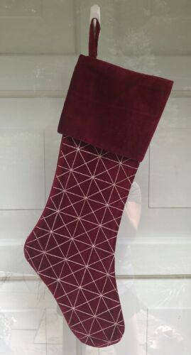 """CRATE /& BARREL Burgundy Red Velvet Christmas Stocking 21.5"""" X 8"""" Gold Embroidery"""