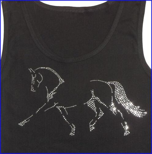 Dressge Horse Art Rhinestudded  Ladies ribbed  black tank top New