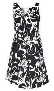 Sheego Damen Cocktail Kleid Muster Blumen Schwarz Weiss Gr 44 46 Neu Ebay