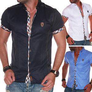 Details zu Herren Hemd kariert Herrenhemd Kurzarm Slim Fit Party Büro Sommer Shirt L5.16