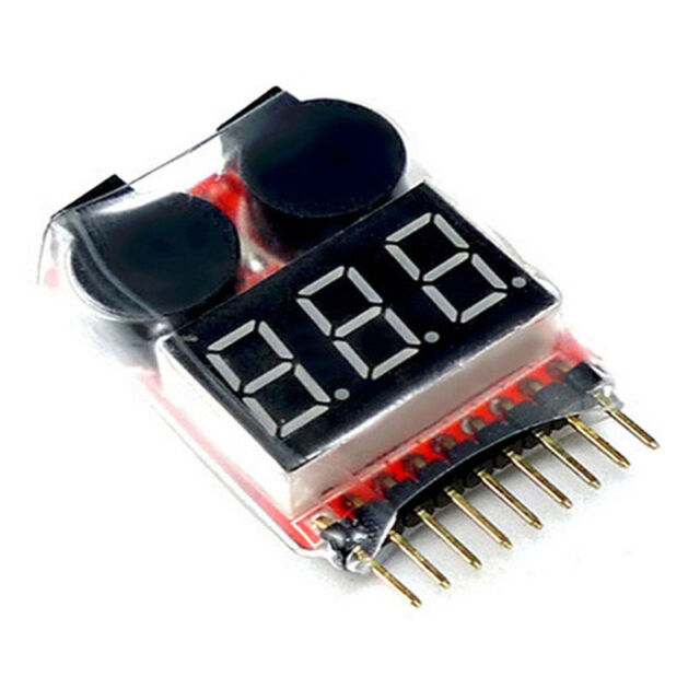 RC Lipo Battery Low Voltage Alarm 1S-8S Buzzer Indicator Checker Tester LED F2K6