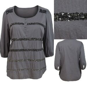 Evans-Size-14-16-18-22-Grey-Cotton-3-4-Sleeve-Sequin-Front-Top-Tunic-Blouse