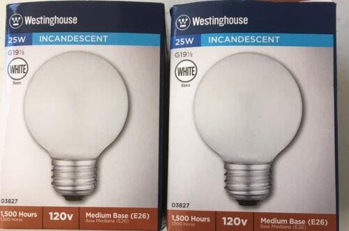 2 Pack Westinghouse 25 Watt 120 Volt White Incandescent G19.5 E26 Light Bulbs