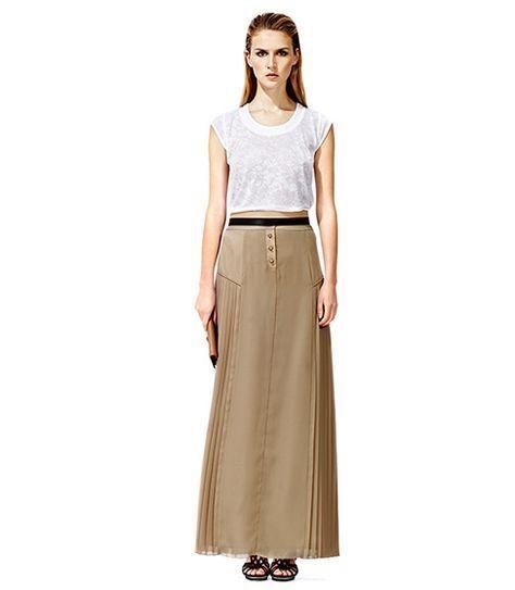 REISS Signa Maxi Beige Pleated Skirt size 4