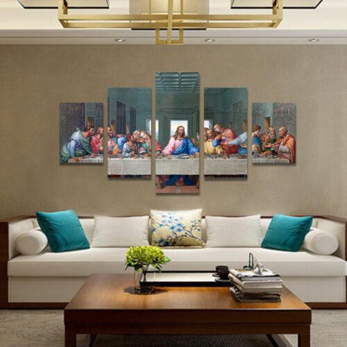 5Pcs The Last Supper Modern Spray Canvas Fine Wall Art Giclee Prints Home Decor