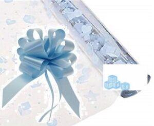 Blue Baby Cellophane Gift Wrap Baby Shower Hamper Nappy Cake Birth