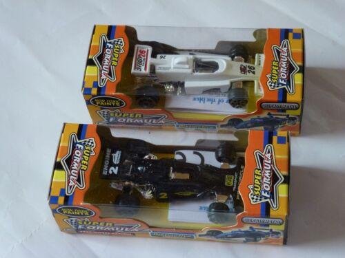 Spielzeugauto 2x Modellauto 8 cm schwarz weiß Super Formula Free Wheel NEU OVP
